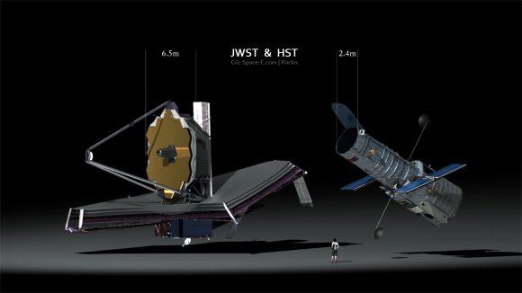Telescopios espaciales James Webb (izquierda) y Hublle (derecha) (reddit.com).