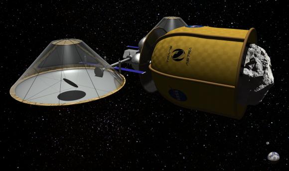 Una nave no tripulada Honey Bee capturando un asteroide antes de extraerle los volátiles (TransAstra).