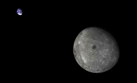 La Tierra y la Luna vistas por la sonda china Chang'e 5-T1 (Xinhua).