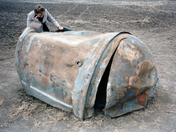 Este tanque de una segunda etapa de un Delta II cayó en Texas en 1997