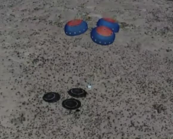 Aterrizaje de la cápsula en esta ocasión (Blue Origin),