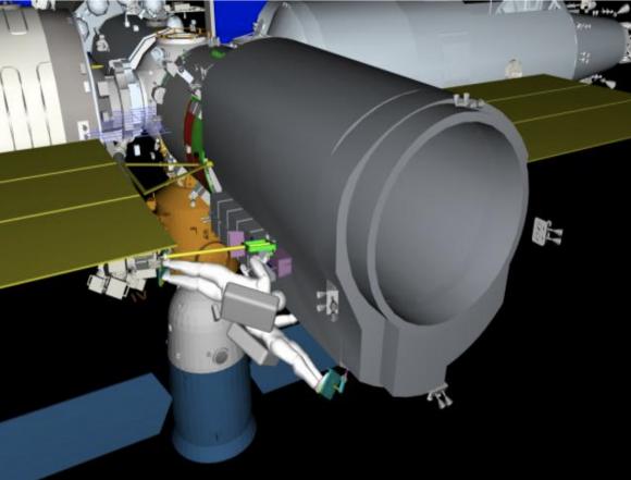 El Xuntian acoplado al puerto trasero del módulo Tianhe para operaciones de mantenimiento por parte de los astronautas.