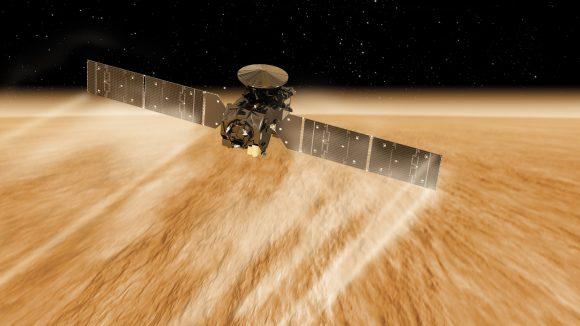 La sonda Exomars TGO durante el aerofrenado (ESA).