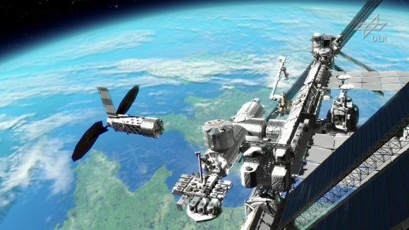 El primer elemento de Orbital Hub, el Free Flyer, acoplándose a la ISS (DLR).