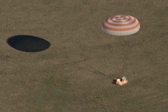 Aterrizaje de la Soyuz MS-07 (NASA).