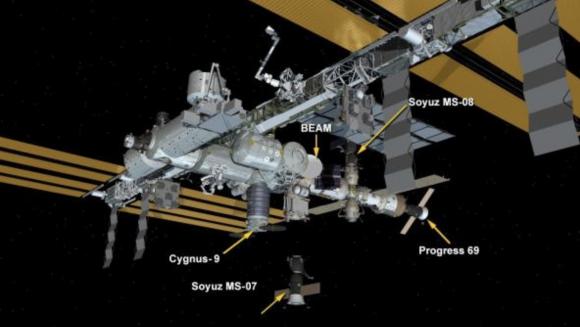 Configuración de la ISS tras el regreso de la MS-07 (NASA).
