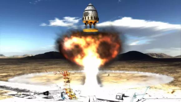 Recreación de una nave de pulsos nucleares tipo Orión ().