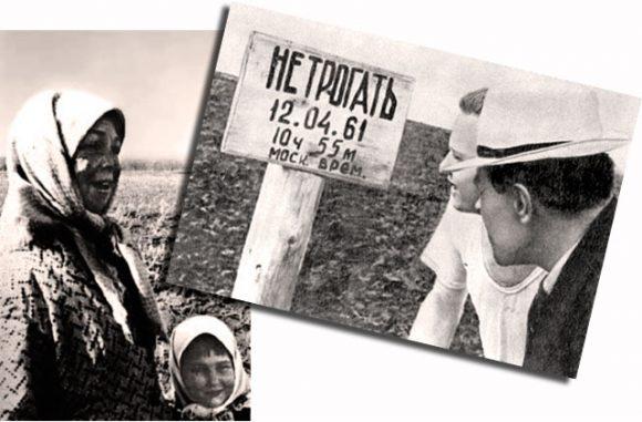 El lugar de aterrizaje del primer vuelo tripulado de la historia (derecha). Anijaiat Tajtarova y Rumiya Kudashova (izquierda) (Yuriesfera).
