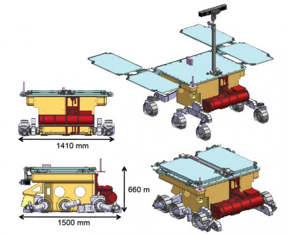 Configuración de vuelo del rover (Thales Alenia Space).