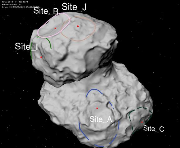 Otra vista de los lugares de aterrizaje para Philae (ESA/CNES).