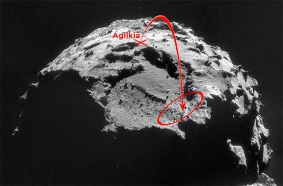 Diferencia entre la zona de aterrizaje original y la final (ESA/http://news.discovery.com/).