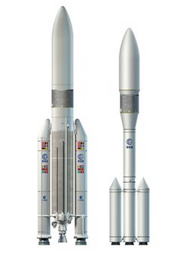 Ariane 5 ME (izquierda) y primer diseño del Ariane 6 (derecha) (ESA).