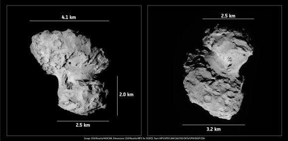 Dimensiones estimadas del cometa 67P a principios de octubre (ESA/Rosetta).