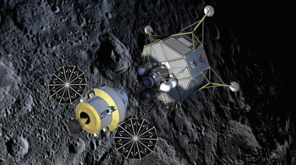 Diseño original del CEV Orión y el módulo lunar Altair del Programa Constelación (NASA).