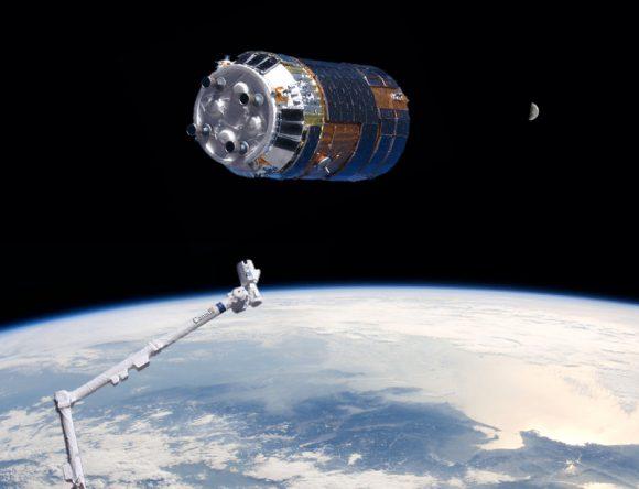 Una nave de carga HTV japonesa en la ISS (NASA).