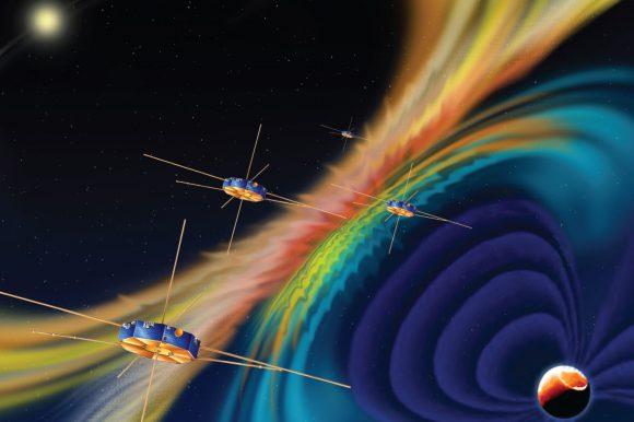 Satélites MMS de la NASA para el estudio de la magnetosfera (NASA).