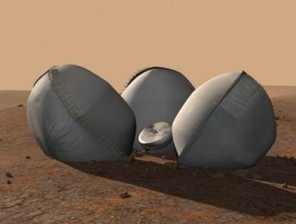 Airbags de la Beagle 2 (ESA).