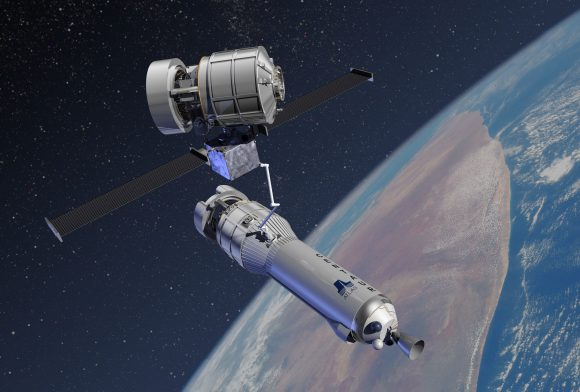 Intercambio de Exoliners una vez terminada la misión. El nuevo Exoliner aparece acoplado a su etapa Centaur (Lockheed-Martin).