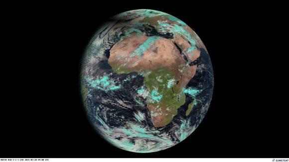 El eclipse visto desde el Meteosat 10 (EUMETSAT).
