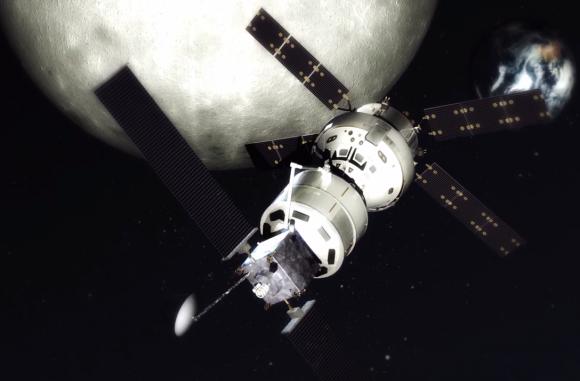 El remolcador Jupiter llevando víveres en el Exoliner a una Orión en órbita lunar (Lockheed-Martin).