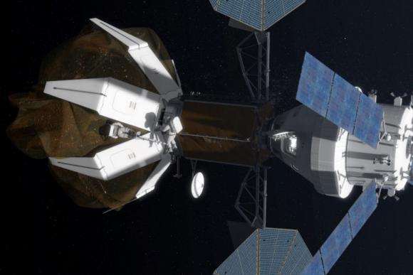 La Opción A, ahora abandonada, pasaba por capturar un asteroide completo. En los últimos meses se había abandonado la bolsa por un esquema de pinzas gigantes (NASA).
