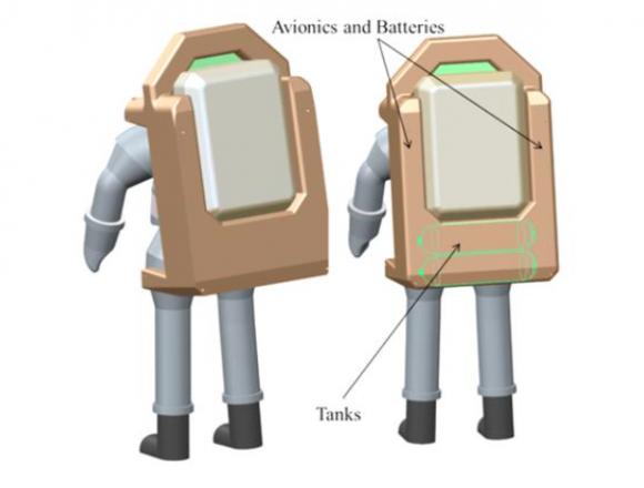 Mochilas propulsoras tipo SAFER para los trajes extravehiculares (NASA).