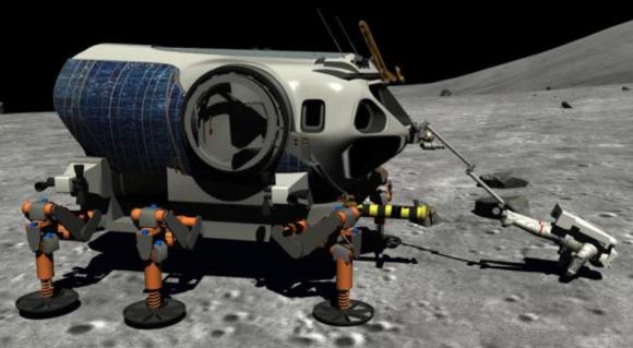Un PEV con sistema ATHLETE y brazo robot para sujetar al astronauta (NASA).