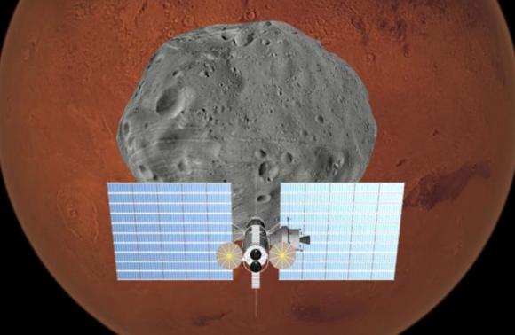 Hábitat en el punto L1 del sistema Marte-Fobos (NASA).
