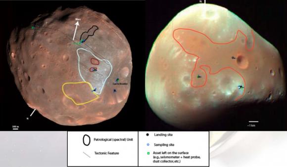 Zonas de exploración en ambas lunas (NASA).