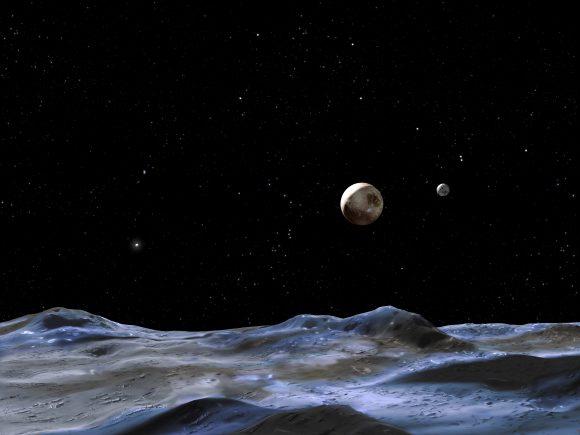 Recreación artística de Plutón y Caronte vistos desde la