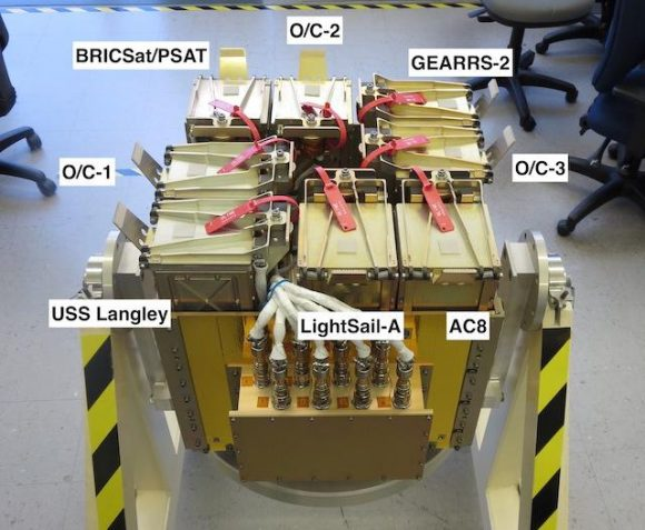 Configuración de lanzamiento de los cubesats (USAF).