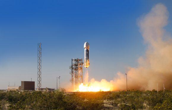 Primer lanzamiento de la New Shepard el 30 de abril de 2015 (Blue Origin).