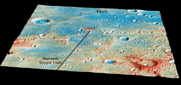 Trayectoria de impacto de MESSENGER contra Mercurio (NASA).