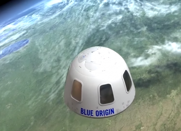 Recreación de la cápsula tripulada New Shepard (Blue Origin).
