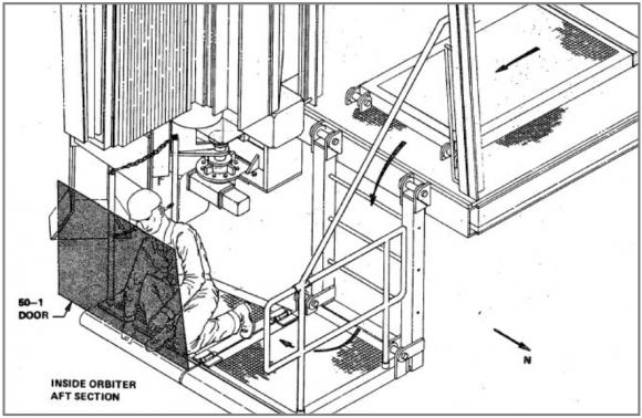 Plataforma usada por los técnicos para acceder al compartimento (NASA).
