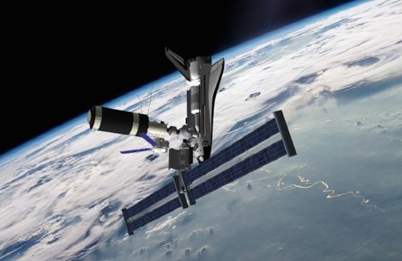 El transbordador espacial acoplado al Skylab en los años 80 (Junior Miranda/wired.com).