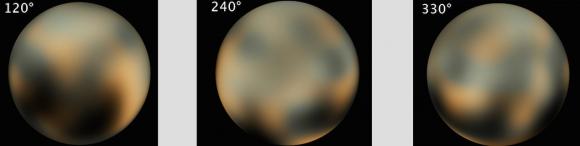 Imágenes de Plutón obtenidas por el telescopio Hubble. Las manchas parece que no han cambiado mucho (NASA/STScI).