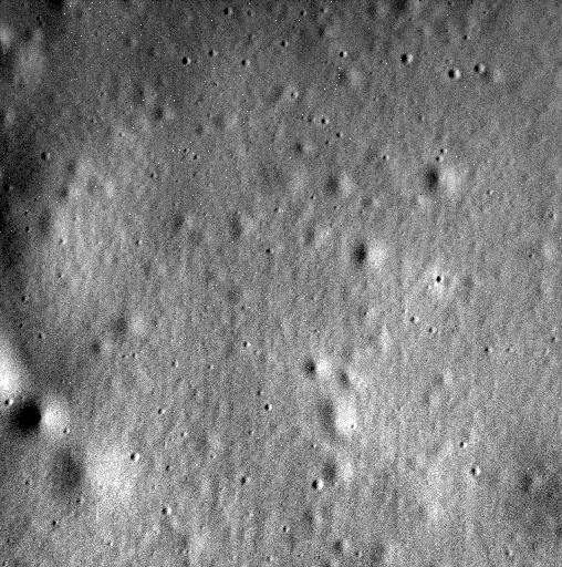 Última imagen de MESSENGER (el fondo del cráter Jakin) (NASA).