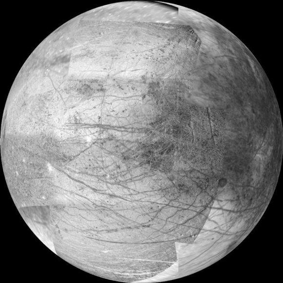 Europa vista por la sonda Galileo (NASA/JPL).