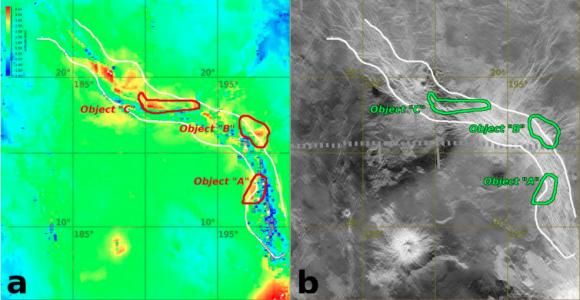Imagen de la Venus Express con las zonas calientes (izquierda) y mapa de radar de la sonda Magallanes (derecha) (ESA/E.V. Shalygin et al.).