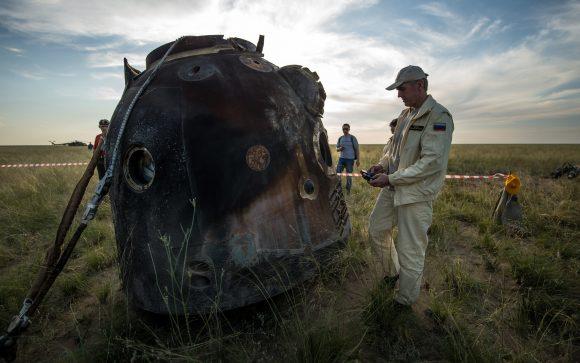La cápsula en tierra (NASA).