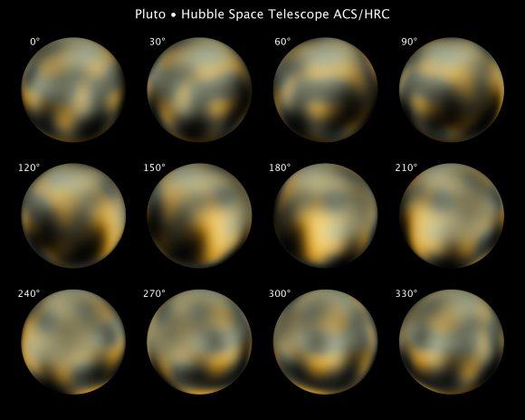 Imágenes a color de Plutón obtenidas por el telescopio Hubble (NASA).