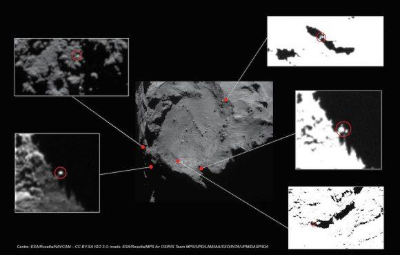 Posibles zonas de aterrizaje de Philae determinadas por la cámara OSIRIS (ESA/OSIRIS).