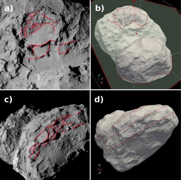 Caps detectadas por Rosetta en el lóbulo mayor (H. Rickman et al.).