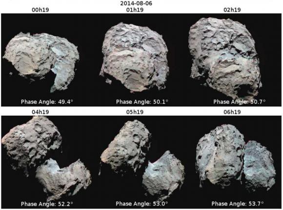 Imágenes de OSIRIS en falso color del 67P en las que se aprecian las diferencias de brillo (S. Fornasier et al.).
