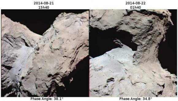 Detalle de la región del cuello de Chury según imágenes de la cámara OSIRIS del pasado agosto ().