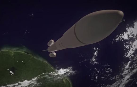 El lanzador de prueba de Adeline usaría dos pequeños cohetes de combustible sólido para despegar (Airbus).