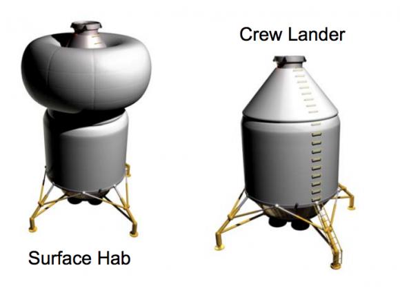 Hábitat de superficie de Calisto (izquierda) y lanzadera orbital (derecha) (NASA).