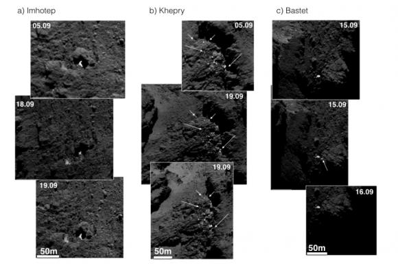 Los depósitos de hielo observados por la cámara OSIRIS en distintas fechas (SA/Rosetta/MPS for OSIRIS Team MPS/UPD/LAM/IAA/SSO/INTA/UPM/DASP/IDA).