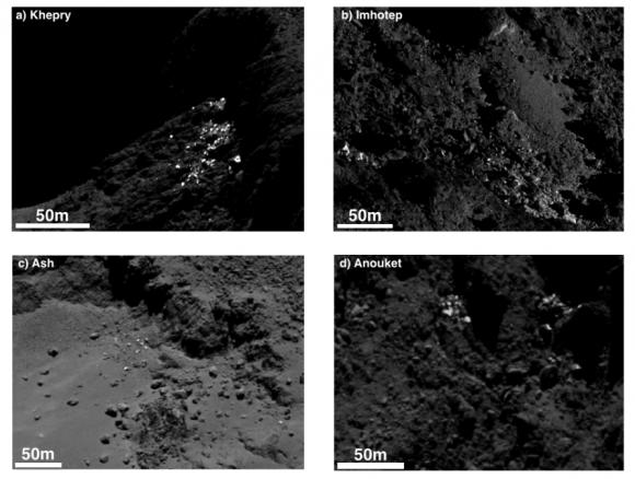 Ejemplos de grupos de depósitos de hielo (SA/Rosetta/MPS for OSIRIS Team MPS/UPD/LAM/IAA/SSO/INTA/UPM/DASP/IDA).